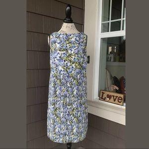 J. JILL Floral Sleeveless Pleated Shift Dress Med